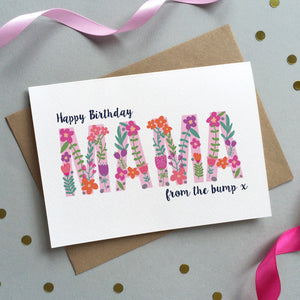 Floral 'Birthday From The Bump' Card - Sarah Catherine