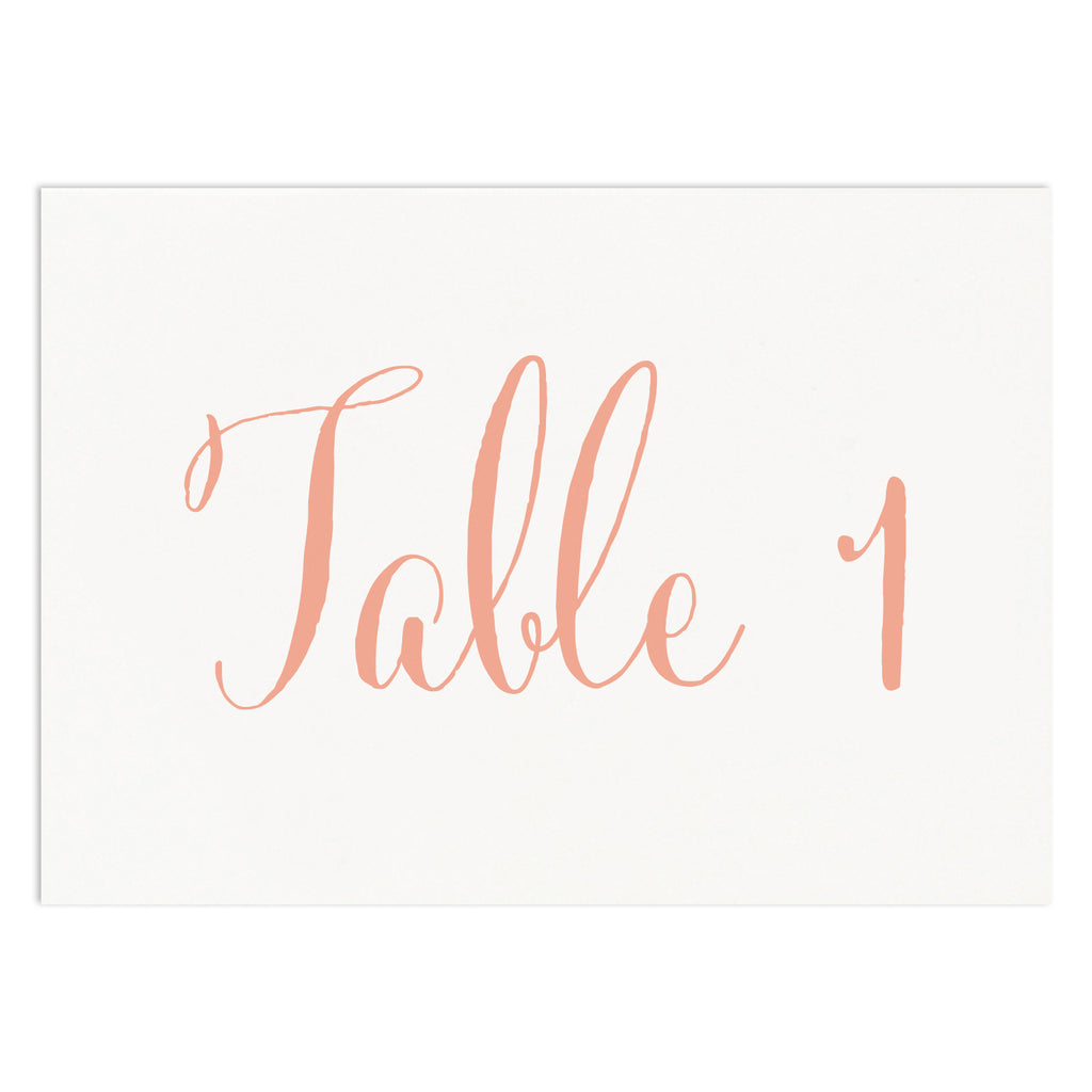 Calligraphy Script Table Numbers - Russet and Gray