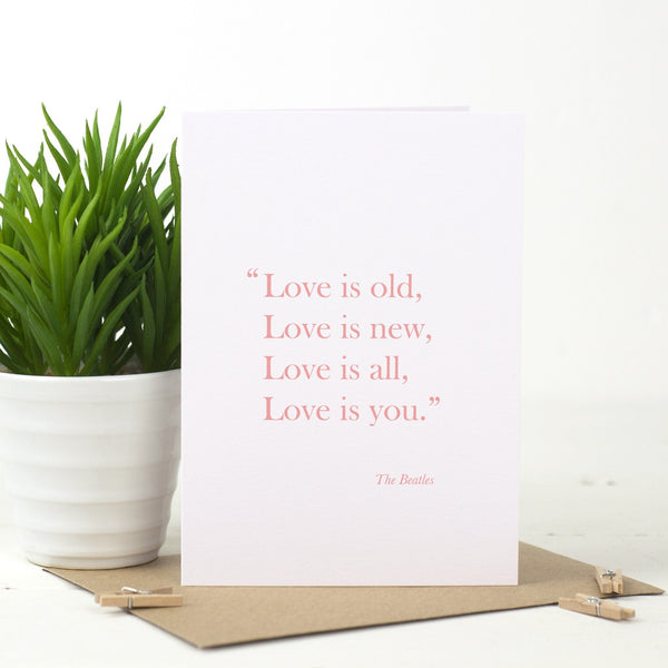'Love Is Old, Love Is New' Card - Russet and Gray