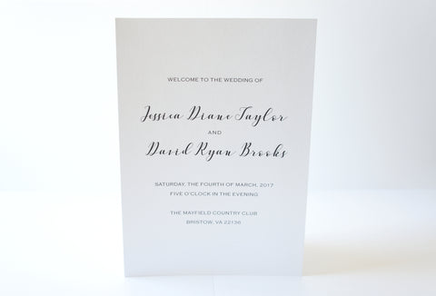 Modern Script Wedding Program - DEPOSIT