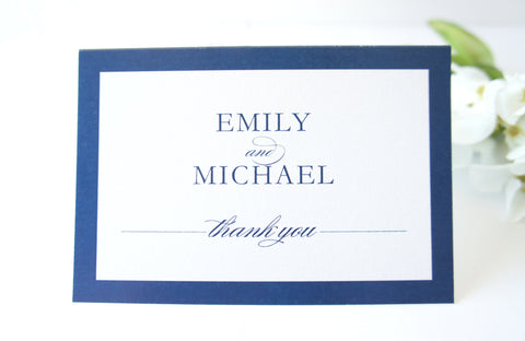 Navy Blue Wedding Thank You Cards -  DEPOSIT