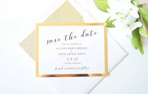Gold Mirrored Save the Date