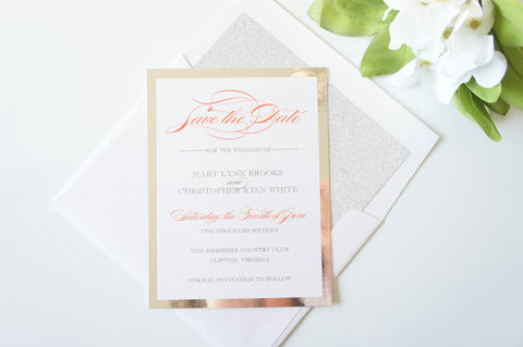 Coral and Silver Save the Date