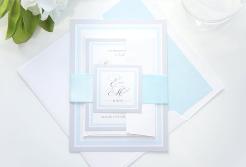 Light Blue Wedding Invitation - SAMPLE SET