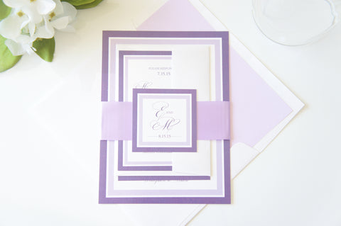 Purple Wedding Invitation - SAMPLE SET