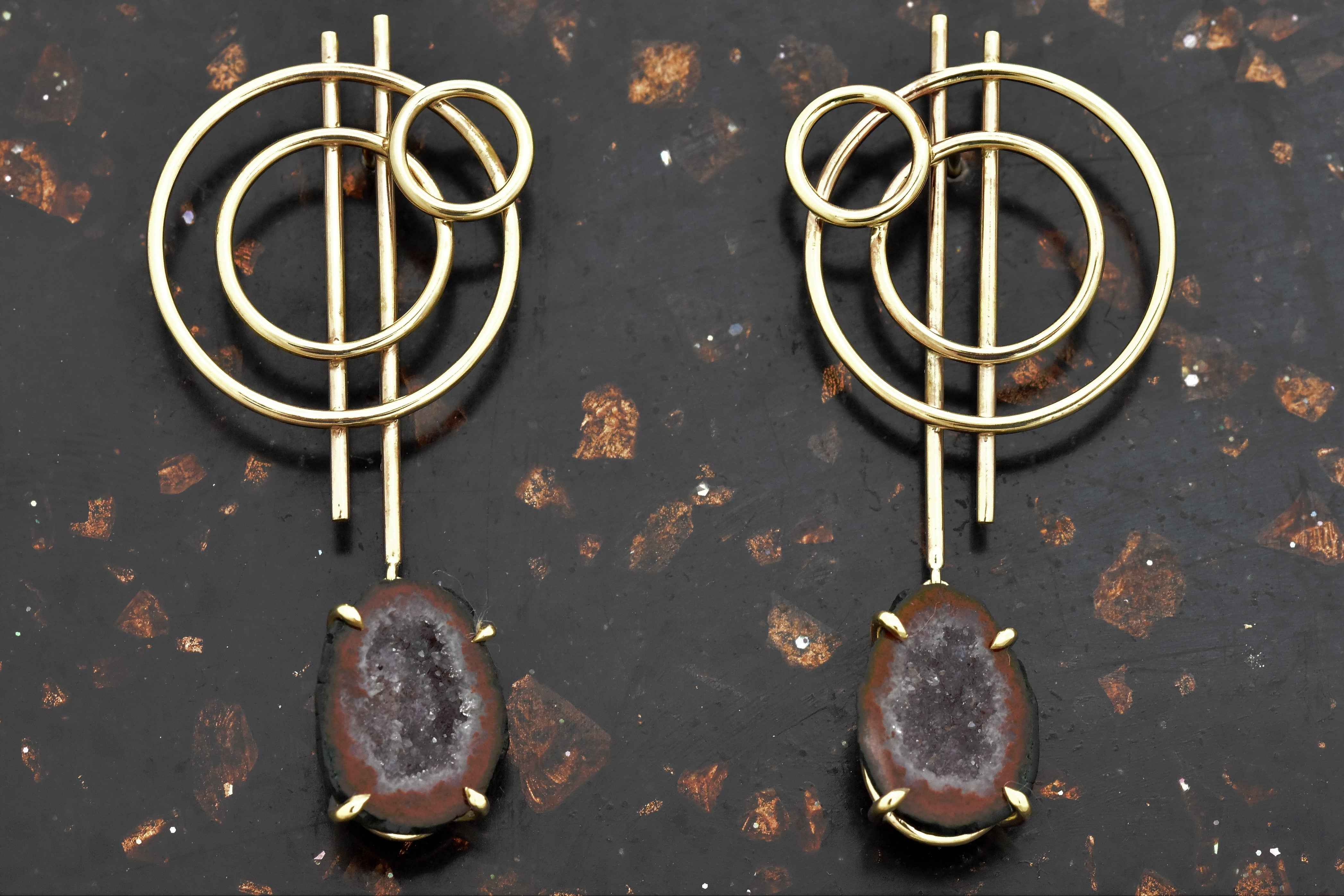 Concentric Circle Drop Earrings with Druzy Agate