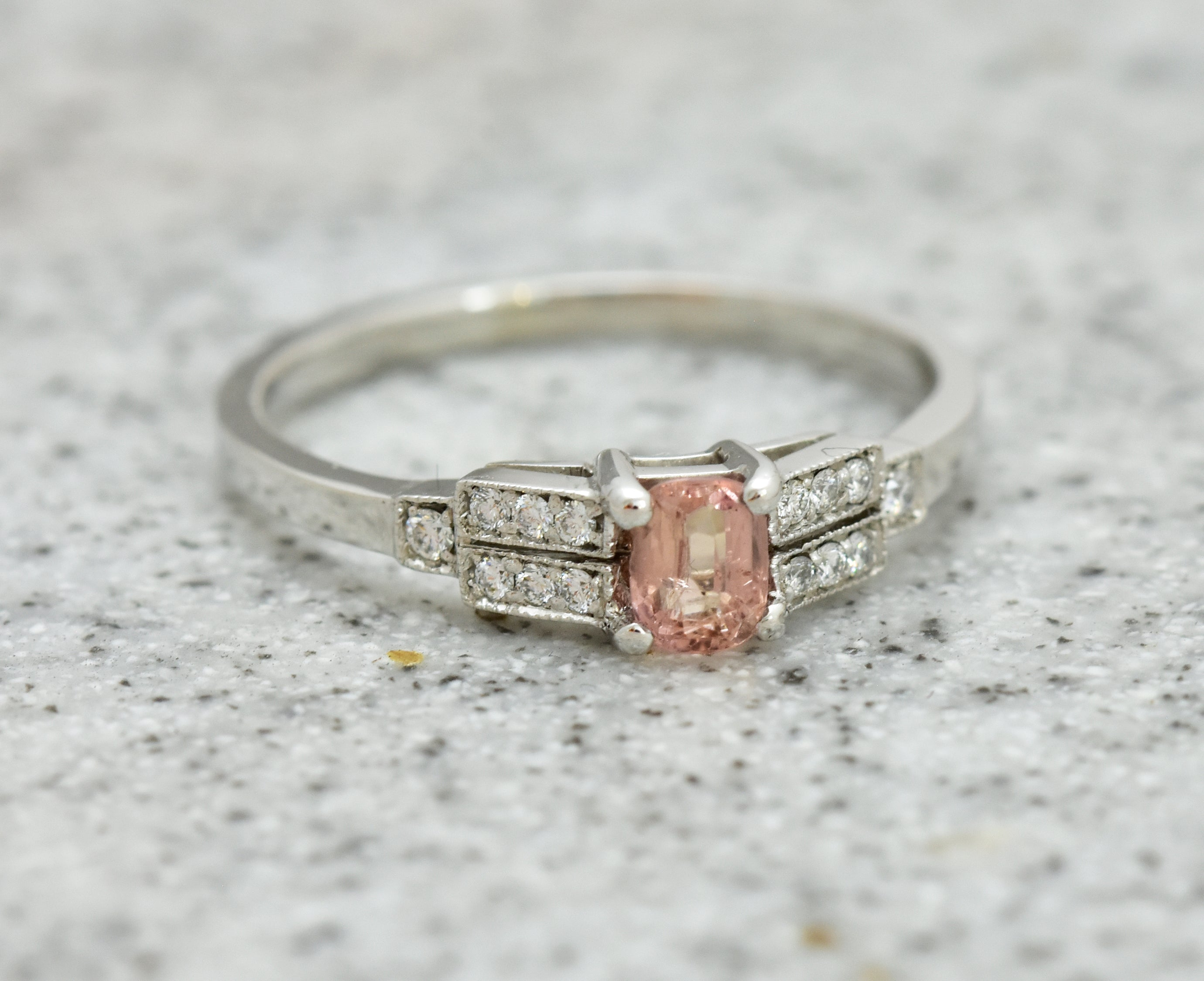 Peach Sapphire Ring with Deco Step Cut shoulders