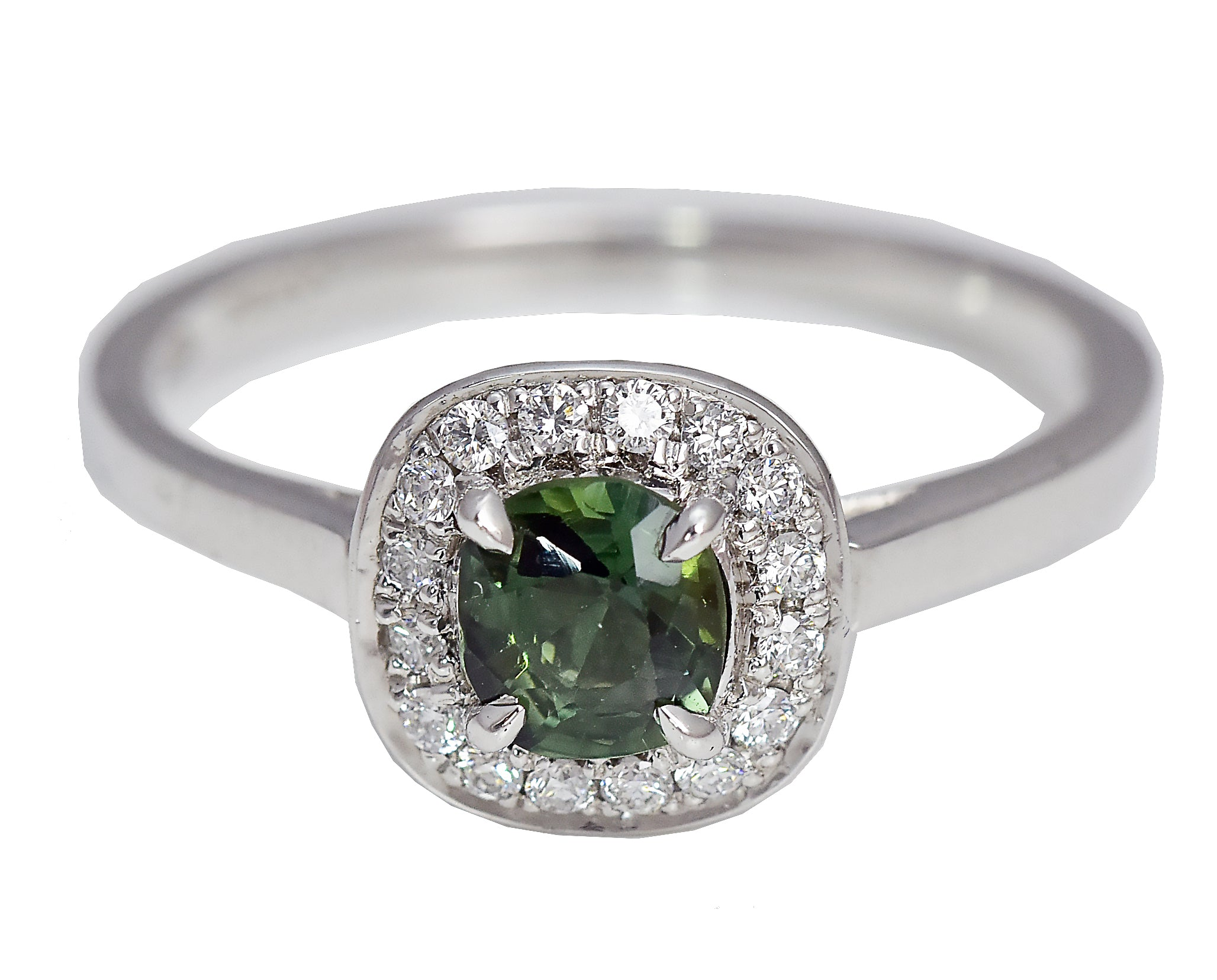 Green Sapphire Ring with White Diamond Halo