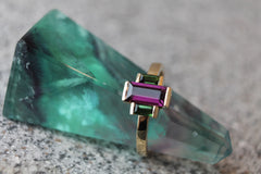 Rhodolite Garnet & Green Tourmaline Ring