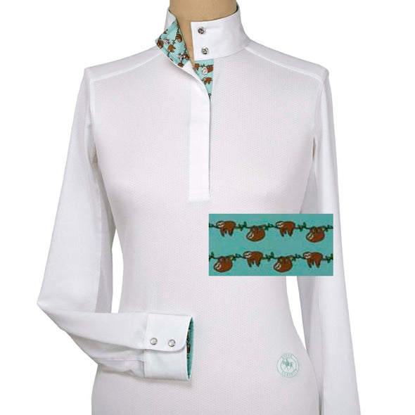 Essex Classics Sloths Ladies Talent Yarn Straight Collar Show Shirt - Equestrian Chic Boutique