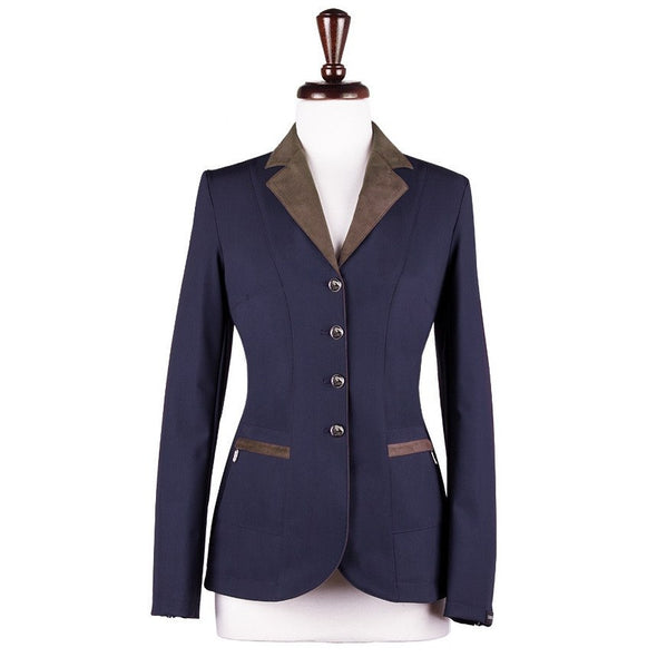 Sarm Hippique NAVY VERBANIA Show Coat - Navy with Brown - Equestrian Chic Boutique