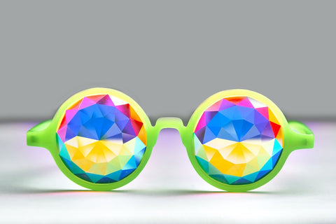 Glow Green Diamond Kaleidoscope Glasses