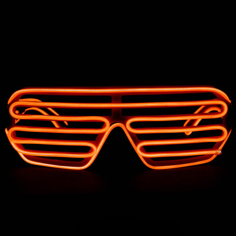 EL Wire Glasses - Orange Light Up El Wire Shutter Glasses