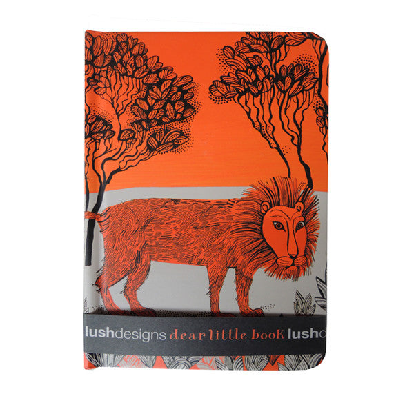 Lush designs hard-backed notebook with lion print in orange