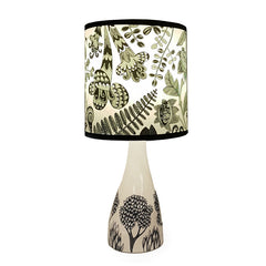 Lush designs Linden lamp base in cream and black with floral shade
