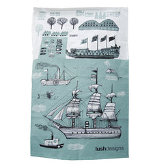 Lush Designs ship design tea towel