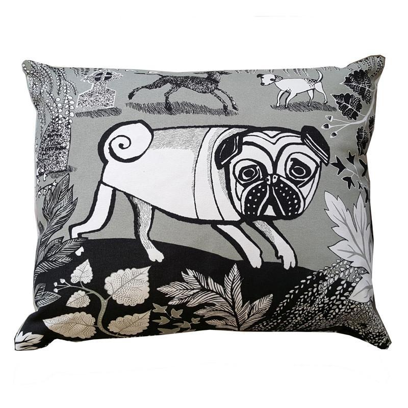 Lush Designs canvas cushion with feather pad printed with design of pug dog, spotty dog and bedlington terrier in grey and black on white