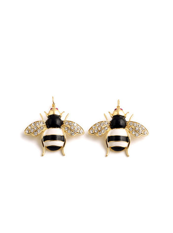 Lovely Rhinestone Bee Statement Leverback Earrings