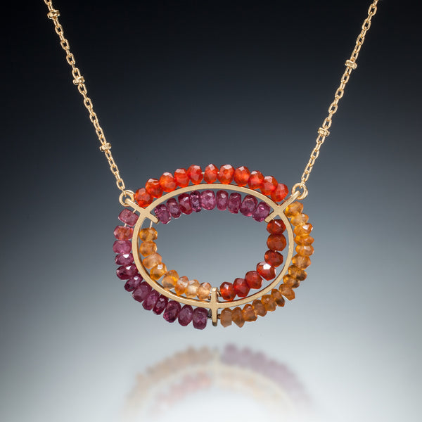 Gemstone Double Circle Necklace (gold, red) - Kinzig Design Studios