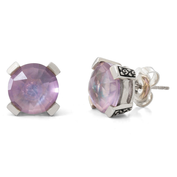 Pink Amethyst and Crystal Quartz Stud Earring, 8 mm