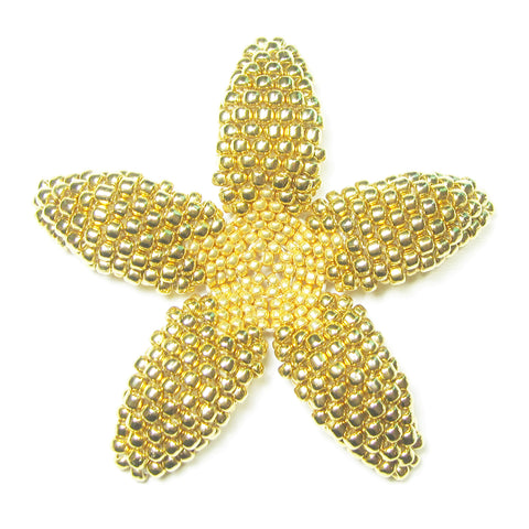 Heart in Hawaii Beaded Plumeria Flower - Metallic Gold - 3 sizes
