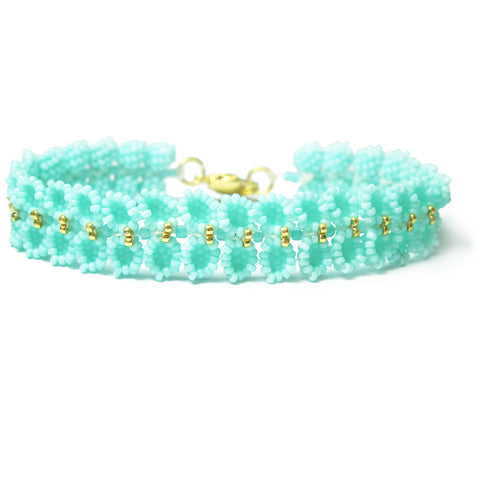 Heart in Hawaii Maile Inspired Beaded Leaf Vine Bracelet - Mint with Gold