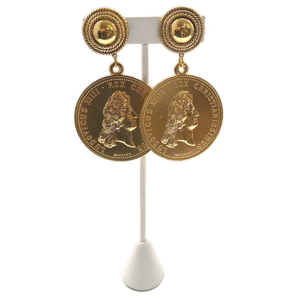 French Louis XII Faux Coin Earrings