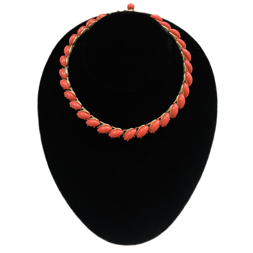 """Trifari"" Vintage Faux Coral Necklace"