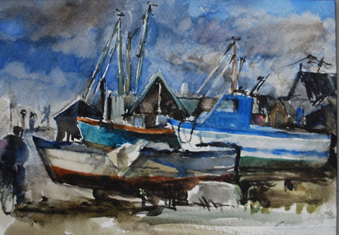 Jane Corsellis Boats and Black Sheds Southwold watercolours painting