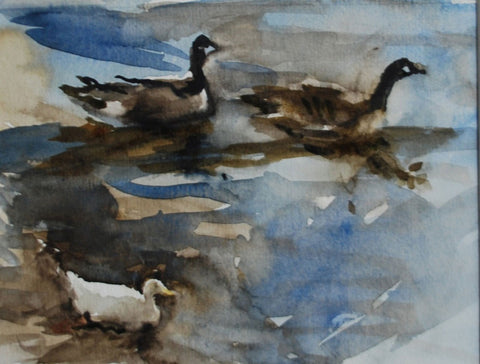 jane Corsellis Duck and Canada Geese, Strand on the Green watercolour painting