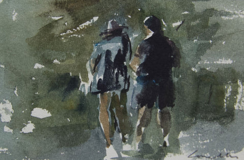 Chatting and Paddling - from the 'Watercolours' collection by Jane Corsellis