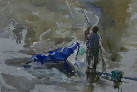 Fishing on the River - from the 'Watercolours' collection by Jane Corsellis