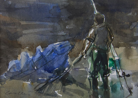 The Blue Net, Fishing on the Thames. - from the 'Watercolours' collection by Jane Corsellis