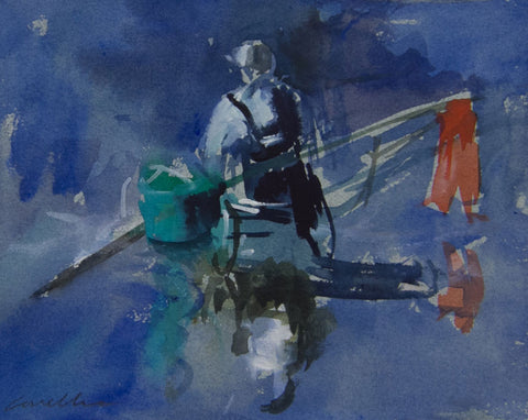 The Fisherman, Strand on the Green. - from the 'Watercolours' collection by Jane Corsellis