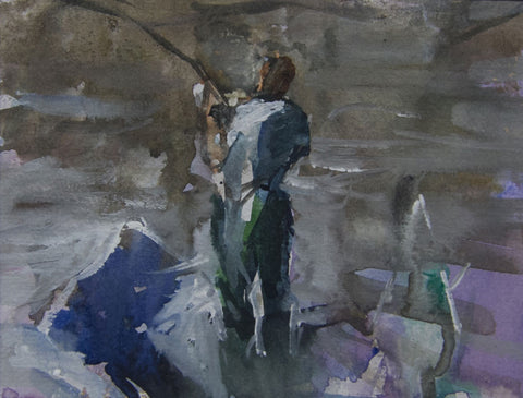 The Catch. Fishing at Strand on the Green. - from the 'Watercolours' collection by Jane Corsellis