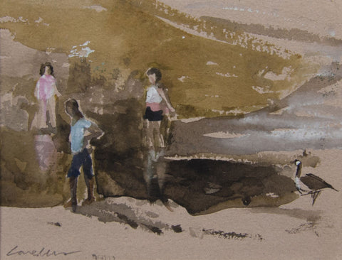 Walking on the Riverbank - from the 'Watercolours' collection by Jane Corsellis