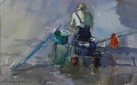 Fishing from the Trolley. Strand on the Green. - from the 'Watercolours' collection by Jane Corsellis