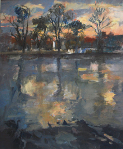 Setting Sun, Strand on the Green - from the 'Oils' collection by Jane Corsellis