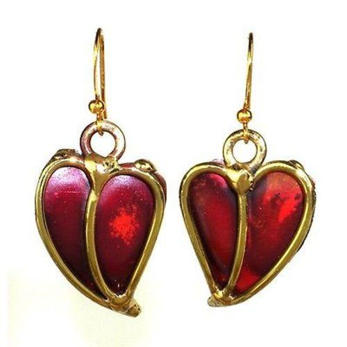 Heart Copper and Brass Earrings Handmade and Fair Trade