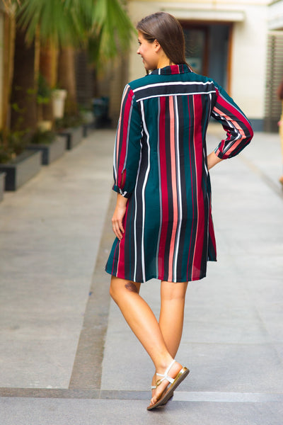 Chic Striped Maternity & Nursing Shirt Dress - MOMZJOY.COM