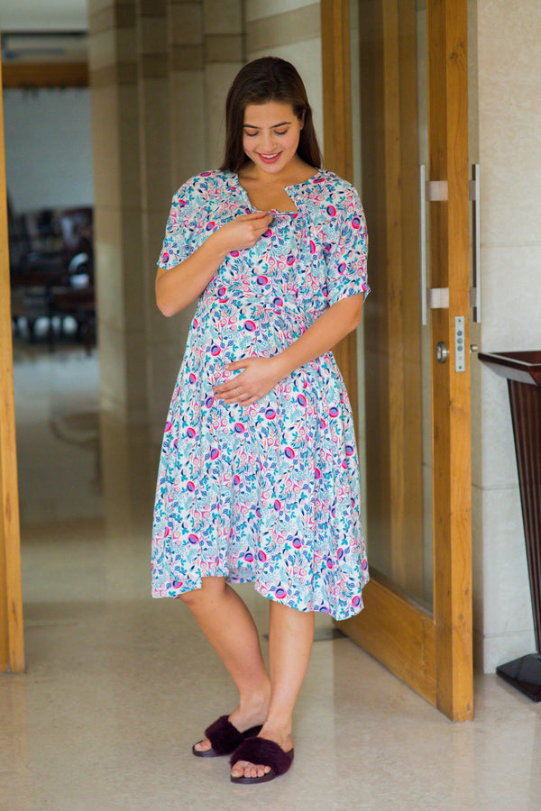 Cute Candy Shoulder Snap Maternity & Nursing Dress / Delivery Gown/ Night Dress - MOMZJOY.COM