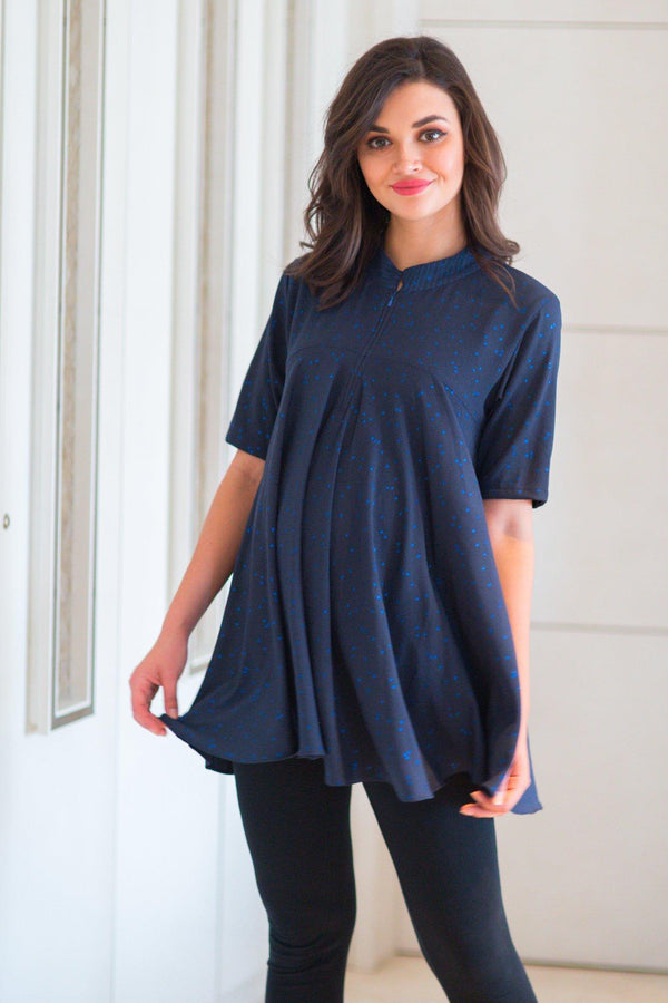 Indigo Shimmer Flair Maternity & Nursing Top