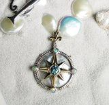 Compass Rose Women's Caribbean Compass Rose 14K Pearl and Diamond Enhancer Pendant