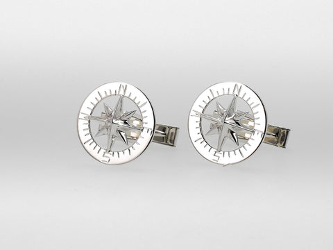 "Compass Rose Classic 3/4"" Cufflinks Sterling Silver"