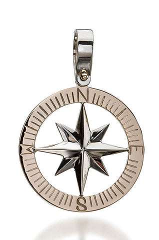 Compass Rose Classic Grande Men's Pendant 14k Two Toned Gold