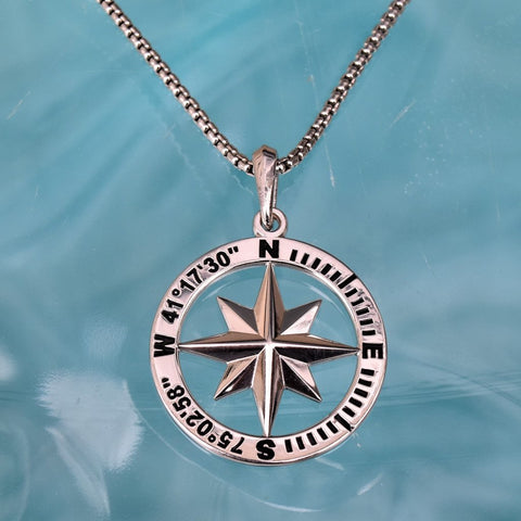 Compass Rose Coordinates Collection  Women's Grande Sterling Silver Pendant