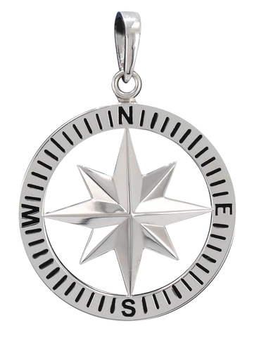 Compass Rose Classic Men's Grande Sterling Silver Pendant With Black Enamel