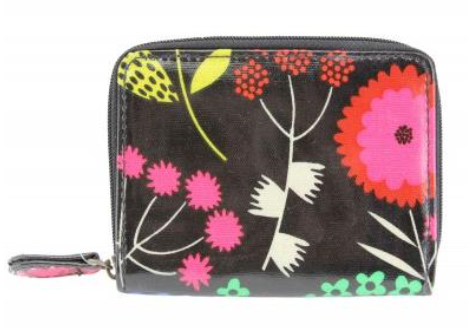 Multi-Colour PVC Floral Mix Print Zip Compartment Purse 11x8.5cm
