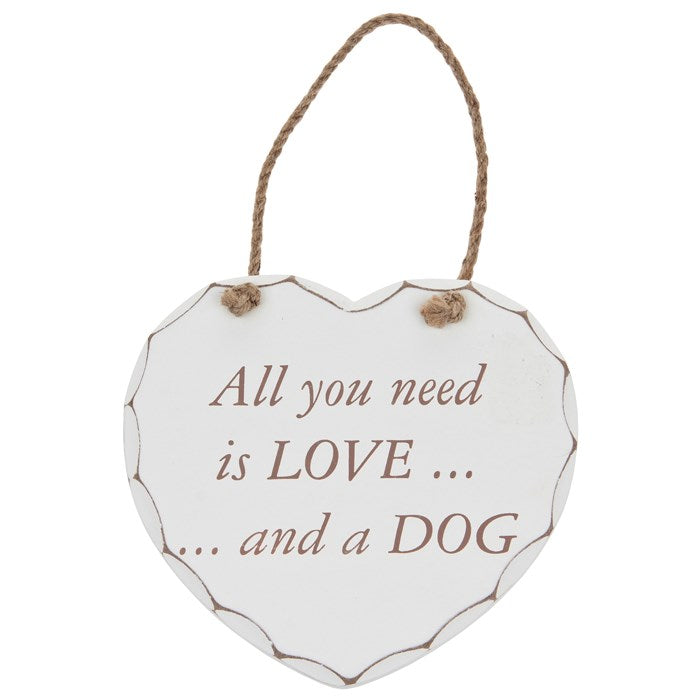 Shabby Chic Dog Wooden Wall Heart | Wysteria Lane