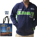 Men's Seattle Seahawks Full Zip Hoodie & FREE BAG
